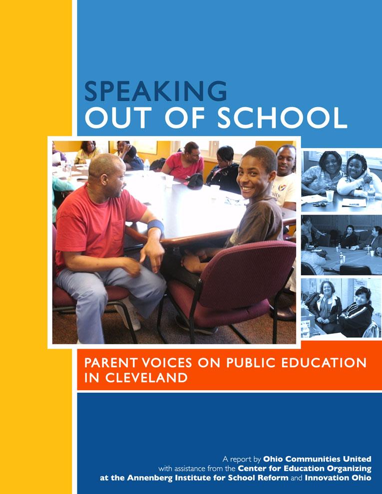 Ohio Communities United - Speaking Out of School - Report cover design