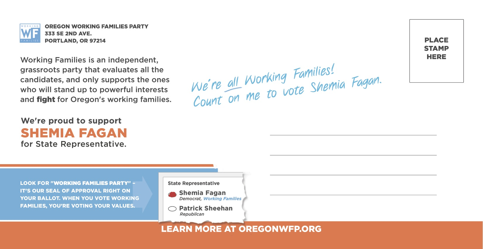 Shemia Fagan - Working Families Party - Campaign Mailer (opposite side)